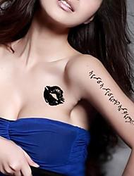 5 Pcs Black Arabic Heart Pendant Waterproof Temporary Tattoo Sticker