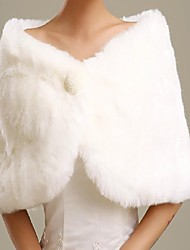 Fur Wraps / Wedding  Wraps Shrugs Sleeveless Cotton / Faux Fur Wedding / Party/Evening Feathers / fur Hidden Clasp