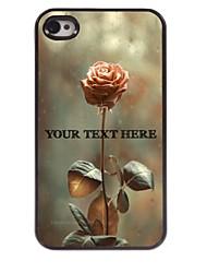 caso di telefono personalizzato - rosa caso di disegno del metallo per iPhone 4 / 4S