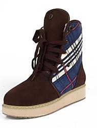 Zapatos de mujer - Tacón Bajo - Botas de Nieve / Punta Redonda - Botas - Vestido - Ante - Marrón / Rojo / Caqui