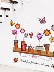 pared calcomanías pegatinas de pared, estilo rural pvc maceta pegatinas de pared