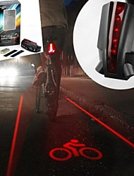 6-Modus 5-LED 2 gerade Linien rote Laser Fahrrad Warnung Rücklicht (2 x AAA schwarz)
