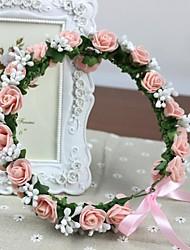 Les rosettes roses de mousse PE faits à la main des femmes fleurs artificielles Casques bandeau de mariée mariage guirlande filles