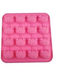16 Loch Schweinekopfform Kuchen Eis Gelee Schokoladenformen, Silikon 17 x 17 x 2 cm (6,7 x 6,7 x 0,8 Zoll)