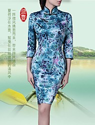Women's Formal Dress,Print Above Knee ¾ Sleeve Blue Nylon Summer