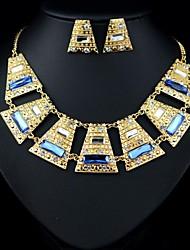 l'élégance de luxe noble grande plaque trapézoïdale bijou (y compris collier&boucles d'oreilles) ensemble de bijoux (1 pc)