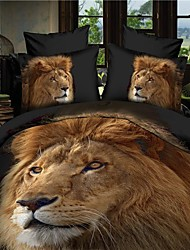Duvet Cover Set,Hot Selling 3D Bedding Sets Reversible Duvet Cover Bed Sheet Set Bed in a Bag with  HD Lion Pattern