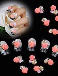 10pcs Perle rosa Rose Blume 3d Strass DIY Nagelkunstdekoration