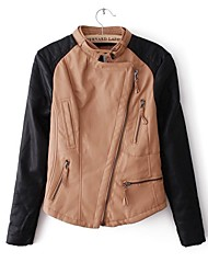 Leather Jacket Women's Long Sleeve Collarless PU Jacket(More Colors)