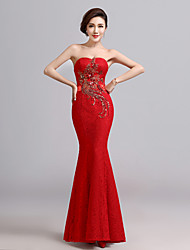 Formal Evening Dress - Ruby Trumpet/Mermaid Sweetheart Floor-length Lace