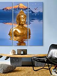 e-FOYER l'horloge bouddha dans 3pcs toile