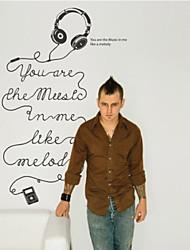 adesivos de parede decalques de parede, fones de ouvido de música contemporânea de parede pvc etiquetas