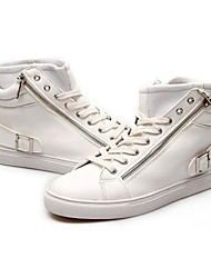 Scarpe da uomo - Sneakers alla moda - Tempo libero / Casual - Finta pelle - Nero / Bianco
