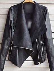 europeo abrigo solapa delgada de Samantha mujeres