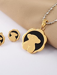 Fashion Sunflower Bear Titanium Steel Gold Plated (Necklace&Earrings) Jewelry Set