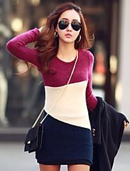 Лара женская мода Bodycon длинным рукавом шею база платье