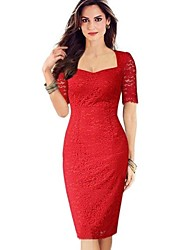 Women's Vintage Sweetheart Dress , Lace/Spandex/Polyester Red/Yellow Bodycon/Lace