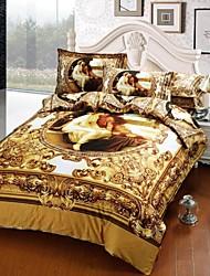 Duvet Cover Set,4 Piece Suit Twill 100% Cotton 3D Oil Painting Bedding Sets Bedclothes Bed Linens Sheet Sets