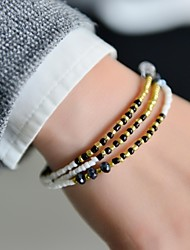 moda feminina pulseira de 3 linhas seedbeads