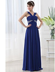 Floor-length Chiffon Bridesmaid Dress - Royal Blue A-line Straps