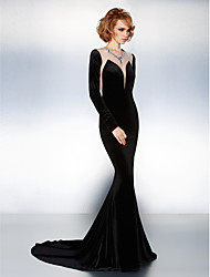 Formal Evening Dress - Black Trumpet/Mermaid Jewel Court Train Velvet