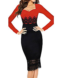 Belt Women's Lace Long Sleeve Dress