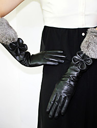 Elbow Length Fingertips Glove Leather Feather/ Fur Party/ Evening Gloves Winter Gloves Fall Winter Bow