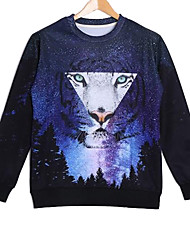 Men's Cotton Long Sleeve Galaxy Tiger Printed Autumn Sport Sweatshirts