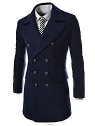 la mode long manteau double sein des hommes sportstreet