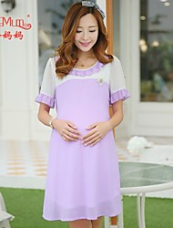 Maternity Korean fashion pregnant Chiffon Princess Dress pregnant women falbala Collar Chiffon Skirt