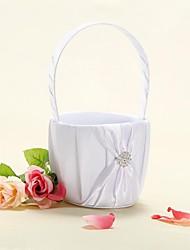цветочные корзины в белом атласе с лентой лук девушки цветка корзине