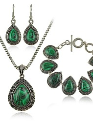 Vintage Waterdrop-shaped Malachite Jewelry Set (Necklace, Bracelet, Earrings)
