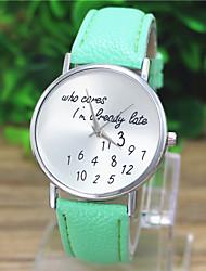 de Geneve mulheres pulseira de couro quartzo relógio analógico casuais (cores sortidas)