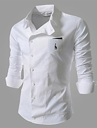 Men's Long Sleeve Shirt, Cotton/Polyester Casual/Work Pure