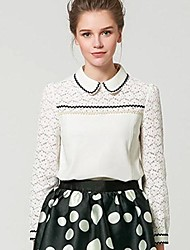 Women's Lace White Shirt , Peter Pan Collar Long Sleeve