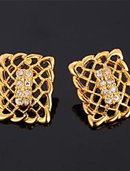 Lust Hohl Rechteck Ohrringe 18K reales Gold überzog Rhinestone-Bolzenohrringe für Frauen hohe Qualität