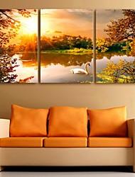 e-FOYER toile tendue art lac peinture décoration ensemble de trois