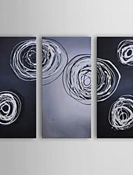 pintura a óleo moderna conjunto abstrato cnidários fosforescência de 3 pintados à mão lona, com quadro esticado