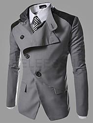 OUER Men's Casual Korea Style Lapel Neck Slim Coat