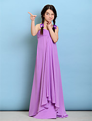 Lanting Bride® Floor-length Chiffon Junior Bridesmaid Dress Sheath / Column Spaghetti Straps with Ruching