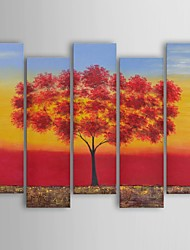 Oil Painting Modern Floral Red Tree Quintet Set of 5 Hand Painted Canvas with Stretched Frame