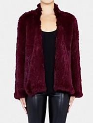 Fur Coat Long Sleeve Collarless Natural Knitted Rabbit Fur Casual Coat(More Colors)