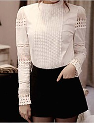 Women's Solid White Blouse , Round Neck Long Sleeve Hollow Out