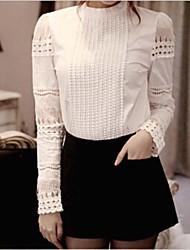 vrouwen opstaande kraag elegante hele wedstrijd blouse