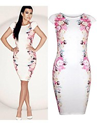 Women's Floral Pink/White/Beige Dress , Vintage/Sexy/Bodycon/Casual/Print/Plus Sizes/Party Crew Neck/Round Neck Short Sleeve