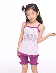 Girl's Striped Clothing Set,Cotton / Spandex Summer Blue / Pink / Purple