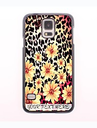 Personalized Phone Case - Leopard Print and Flower Design Metal Case for Samsung Galaxy S5