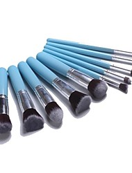 Professional Makeup Brush Set with 10Pcs Blue Brushes