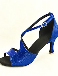 Customizable Women's Dance Shoes Latin/Salsa Sparkling Glitter Customized Heel Black/Blue/Pink/Red/Silver/Gold
