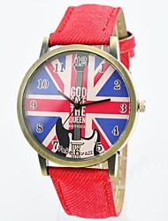 Men's Watch Fashion Unisex Quartz Watch UK Flag Dial Leather Strap Casual Wrist Watch (Assorted Colors)